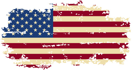 American grunge flag. Vector illustration. Grunge effect can be cleaned easily. Çizim