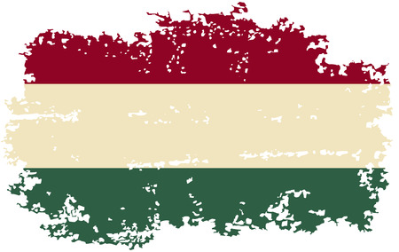 hungarian: Hungarian grunge flag. Vector illustration. Grunge effect can be cleaned easily.