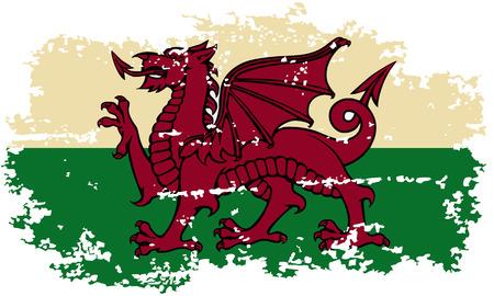 welsh: Welsh grunge flag. Vector illustration.