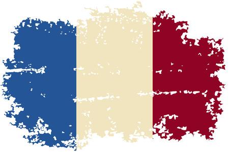 french flag: French grunge flag. Vector illustration.