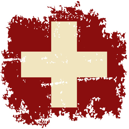 swiss flag: Swiss grunge flag. Vector illustration. Illustration