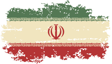 iranian: Iranian grunge flag. Vector illustration.