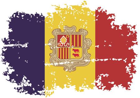 andorra: Andorra grunge flag. Vector illustration.