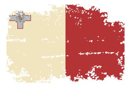 malta flag: Maltese grunge flag. Vector illustration.