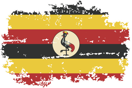 Uganda grunge flag. Vector illustration.