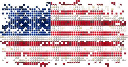American grunge tile flag. Vector illustration Vector