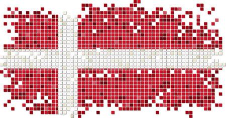 danish flag: Danish grunge tile flag. Vector illustration
