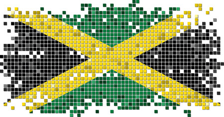 jamaican flag: Jamaican grunge tile flag. Vector illustration