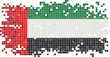 old flag: United Arab Emirates grunge tile flag. Vector illustration