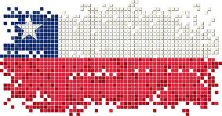 bandera chilena: Bandera baldosas grunge chileno. Ilustraci�n vectorial