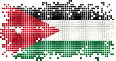 jordanian: Jordan grunge tile flag. Vector illustration