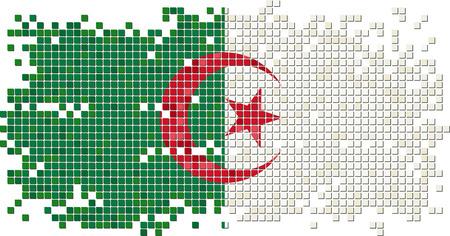 algerian flag: Algerian grunge tile flag. Vector illustration Illustration