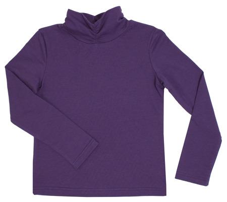 sleeved: Child turtleneck. Isolated on white background.