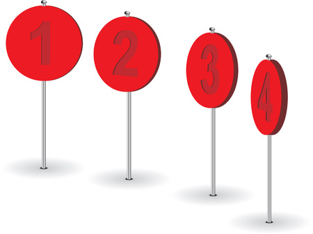 numeral: Set of numeral pins. Vector illustration