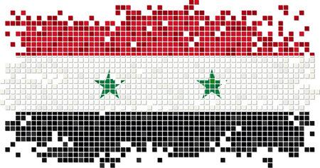 Syryjski: Flaga grunge płytek syryjski. Ilustracji wektorowych