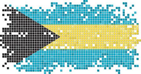 bahamas celebration: Bahamian grunge tile flag. Vector illustration