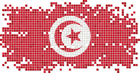 Tunisian grunge tile flag. Vector illustration Vector