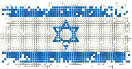 israeli: Israeli grunge tile flag. Vector illustration