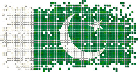 pakistani: Pakistani grunge tile flag. Vector illustration