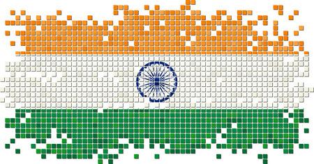 Indian grunge tile flag. Vector illustration