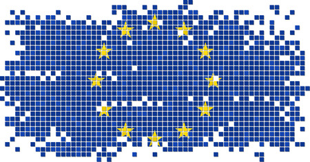 european union: European Union grunge tile flag. Vector illustration