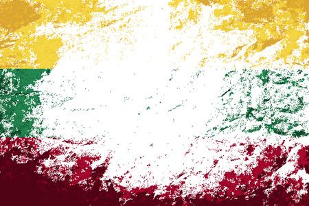 lithuanian: Lithuanian flag. Grunge background. Vector illustration