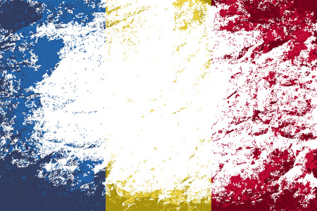romanian: Romanian flag. Grunge background. Vector illustration