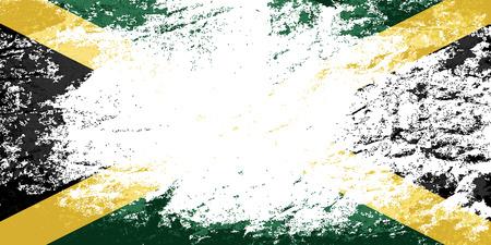 jamaican flag: Jamaican flag. Grunge background. Vector illustration