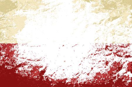 bandera de polonia: Bandera polaca. Grunge fondo. Ilustraci�n vectorial
