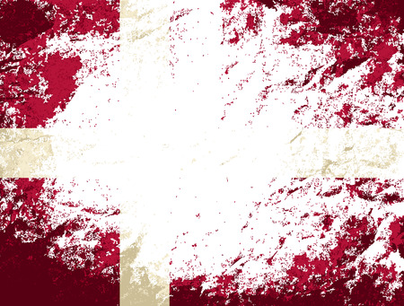 danish flag: Danish flag. Grunge background. Vector illustration Illustration
