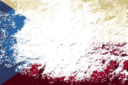 czech flag: Bandiera ceca. Grunge. Illustrazione vettoriale Vettoriali