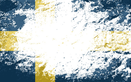 the swedish flag: Swedish flag. Grunge background. Vector illustration