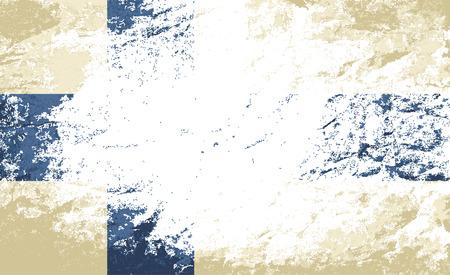 suomi: Finnish flag. Grunge background. Vector illustration