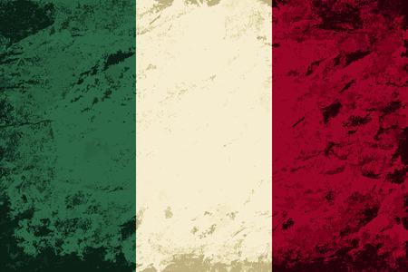 italian flag: Italian flag. Grunge background. Vector illustration