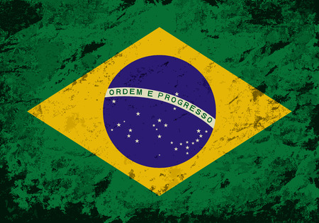 brazilian flag: Brazilian flag. Grunge background. Vector illustration