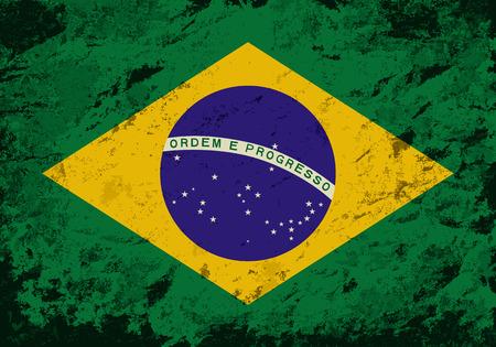 Drapeau brésilien. Grunge background. Vector illustration Banque d'images - 36775307