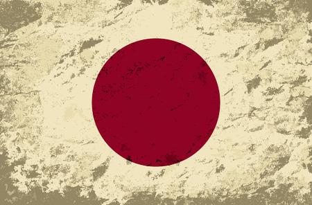 japanese flag: Japanese flag. Grunge background. Vector illustration Illustration