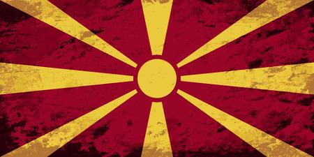 macedonian: Macedonian flag. Grunge background. Vector illustration