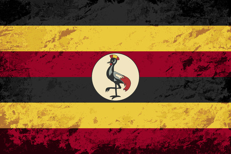 ugandan: Ugandan flag. Grunge background. Vector illustration