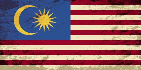 Malaysian flag. Grunge background. Vector illustration Vetores