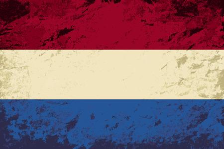dutch flag: Dutch flag. Grunge background. Vector illustration