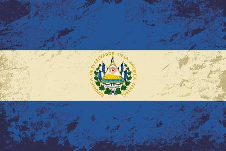 bandera de el salvador: Bandera de El Salvador. Grunge fondo. Ilustraci�n vectorial