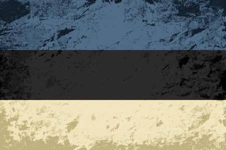 estonian: Estonian flag. Grunge background. Vector illustration