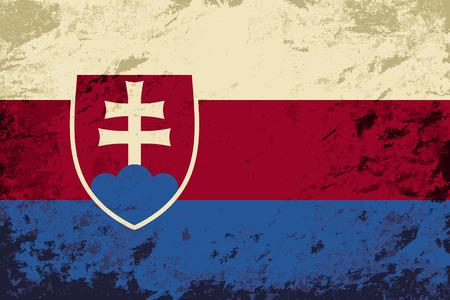 Slovakia flag. Grunge background. Vector illustration