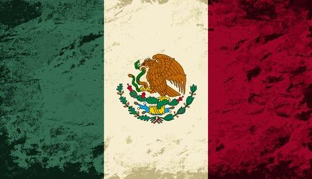 bandera de mexico: Bandera mexicana. Grunge fondo. Ilustraci�n vectorial Vectores