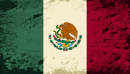 mexican flag: Mexican flag. Grunge background. Vector illustration
