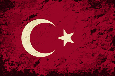 turkish flag: Turkish flag. Grunge background. Vector illustration
