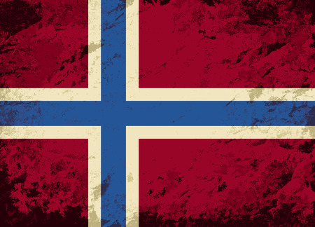 norwegian flag: Norwegian flag. Grunge background. Vector illustration