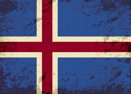 icelandic flag: Bandera islandesa. Grunge fondo. Ilustraci�n vectorial