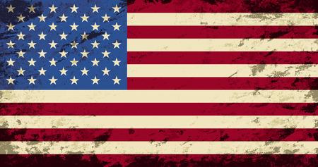 American flag. Grunge background. Vector illustration Illustration